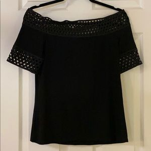 Off the shoulder black short sleeve top